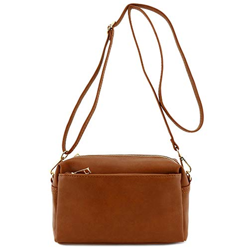 "8.5"" (L) x 5.5"" (H) x 2.75"" (D) Zipper closure Soft faux leather & gold tone hardware Adjustable shoulder strap with 26"" drop 1 open pocket & 1 zipper pocket inside"