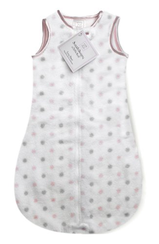 SwaddleDesigns Microfleece Sleeping Sack with 2-Way Zipper, Pastel Pink and Sterling Dots, 0-6MO