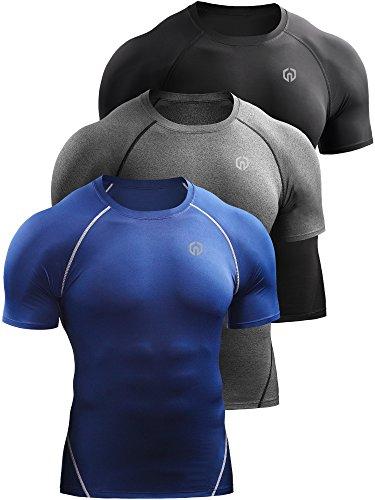 Neleus Men's 3 Pack Compression Baselayer Athletic Workout T Shirts,5022,Black,Grey,Blue,US M,EU L