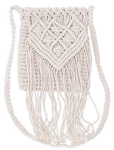 GURU SHOP Makrameee Umhängetasche, Schultertasche - Modell 2, Herren/Damen, Weiß, Baumwolle, Size:One Size, 24x20 cm, Alternative Umhängetasche, Handtasche aus Stoff