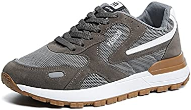 Wuyaraymia Men Running Shoes Grey Color 9 Size Breathable Supportive Cushioned Casual Work Gym Athletic Sneakers