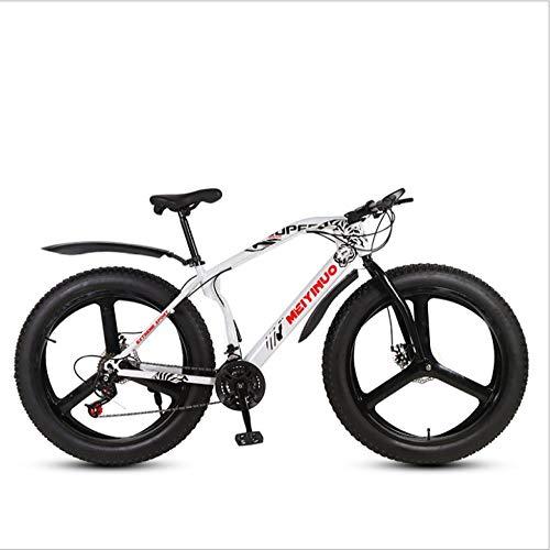 DGAGD 26 inch Snow Beach Bike disc Brake Super Wide 4.0 Tires Off-Road Variable Speed Mountain Bike Three-Wheel-White_24 Speed