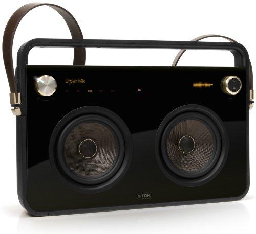 TDK T78531 2 Speaker Boombox Audio System (Mit 2 Lautsprechern, FM-Radio, Trendiges Design) schwarz
