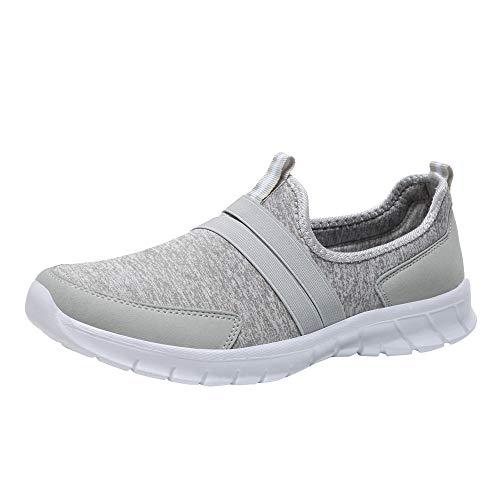 Luckhome Arbeitsschuhe Damen Fitness Schuhe Damen Lieferung Nicht Erhalten Turnschuhe Art- und Weisemaschen-weiche runde Hauptunterseiten-gesetzter Fuß-beiläufige Sportschuhe Faule Schuhe(Grau,EU:39)