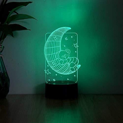 Anime 3D Luz Noche Acrílico Ilusión Lámpara Luna Oso Diseño Control Remoto Táctil USB Niños Sueño Regalo de Cumpleaños Interior Creativo Decoraciones