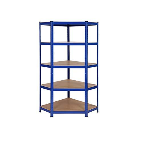 Stabiles Stahl-Eckregal für die Garage, 150 kg Traglast pro Regal, 5 Regalböden, 150 x 75 x 30 cm (L x B x T)