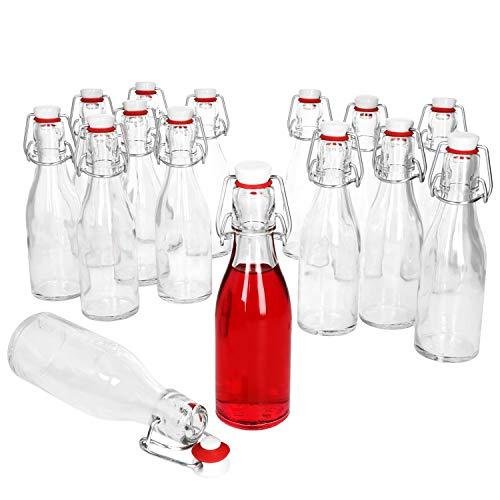 MamboCat 15er Bügelflaschen Set Leere Glasflaschen zum Befüllen 200ml I Flaschen für Likör zum selbst Befüllen I Trinkflasche Glas mit Bügelverschluss Kopf aus Porzellan mit Gummidichtung