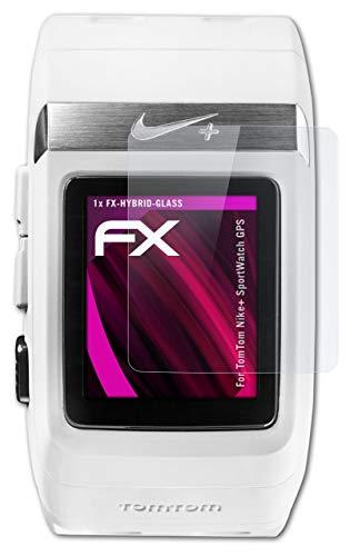 atFoliX Protection Écran Film de Verre en Plastique Compatible avec Tomtom Nike+ SportWatch GPS Verre Film Protecteur, 9H Hybrid-Glass FX Protection Écran en Verre trempé de Plastique