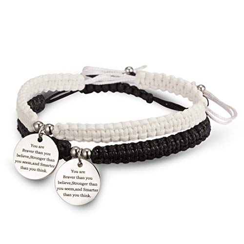 RINHOO 2pc Chakras Bracelet Reiki Healing Balancing Beads and Infinity Inspirational Cuff Bracelet (Weave-Your are Brave (White+Black))