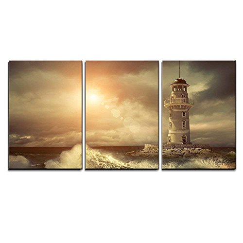 wall26 - 3 Piece Canvas Wall Art - Lighthouse on The Sea Under Sky. - Modern Home Decor Stretched and Framed Ready to Hang - 24'x36'x3 Panels