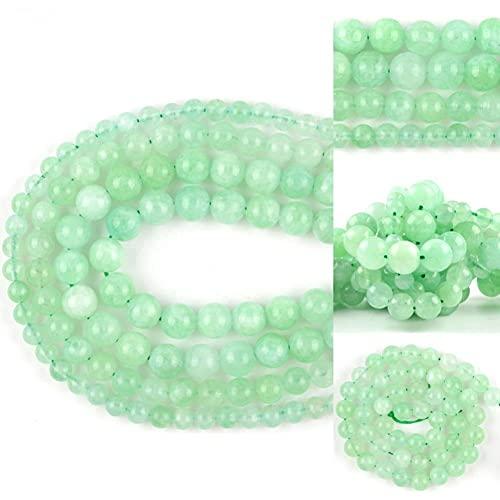 SAIYI 6mm / 8mm / 10mm Natural Green Jades Piedra Separador Suelto Perlas Redondas para la joyería Que Hace Bricolaje Pulseras Collar Costura 15' (Color : 10mm 37pcs Beads)
