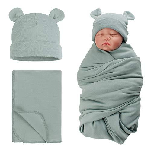 PESAAT Baby Swaddle Hat Set Bear Ears Boys Girls Beanie Newborn Baby Receiving Blanket Autumn Winter (Greyish Green(Hat+Swaddle), 0-6 Months)