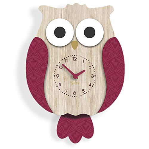 Dekori - Reloj de pared moderno y para cocina, silencioso y preciso, fabricado en Italia (rojo carminio)