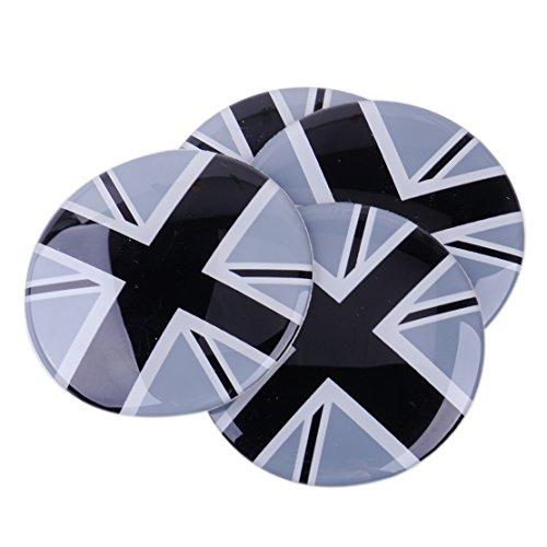 beler 4stk 52mm Grau UK Flagge Auto Radmitte Naben Kappe Selbstklebend Aufkleber Abzeichen Emblem Dekoration