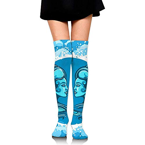NA sterrenbeeld van de tweelingen in Air Circle Compression Socks dijen hoge sokken over de kniekousen voor mannen vrouwen ondersteund
