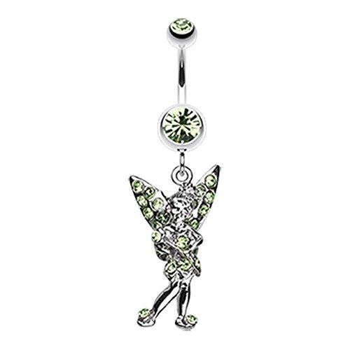 """Freedom Fashion Tinker Bell Sparkle 316L Surgical Steel Belly Button Ring (Sold Individually) (14GA, 3/8"""", Light Green)"""
