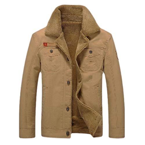 Miracle Mens Casual Military Trucker Jacket Cotton Button Down Fleece Denim Jacket Khaki XXL