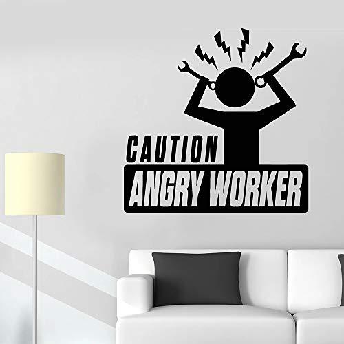 JXMK kantoor wandtattoo voorzichtig Angry Worker Cartoon patroon decor sticker Vinyl Company venster wandtattoos Home Decoration 84x84cm