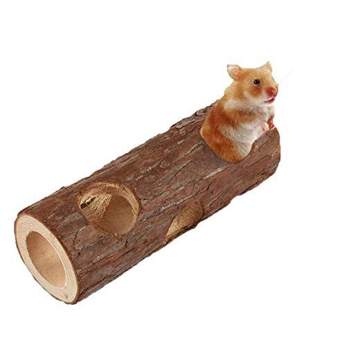 Gshy Holztunnel für Hamster Hohlbaumstamm Kauspielzeugübung Tube für Kaninchen Aglet Guinea Lang 15cm