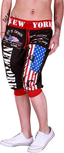 Glowinko dames jogging bermuda shorts | korte joggingbroek voor vrouwen | lichte katoenen broek met zakken | korte trainingsbroek met boorden | vrijetijdsbroek New York 560