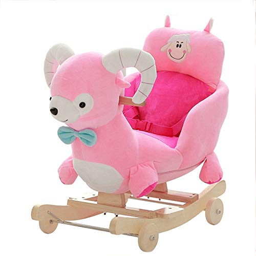 Rockers Ride-ons Rocking Horse Wooden 2 in 1 Dual Use Plush Rocking Horse with Wheels for Baby Up 6 Months Boys and Girls Children's Kid Animal Seat Soft Rocker Music Toy Birthday Gift XIUYU
