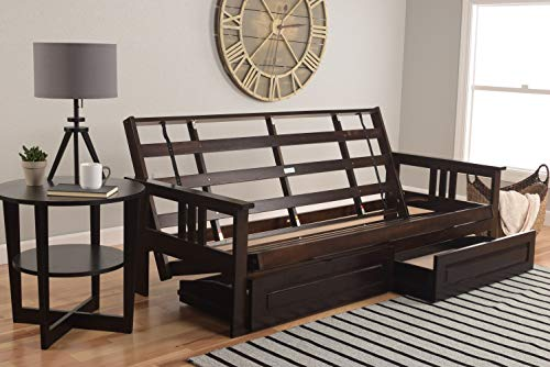 Why Choose Jerry Sales Full Size Montreal Espresso Futon Frame only Hardwood Sofa to Bed Choice to a...