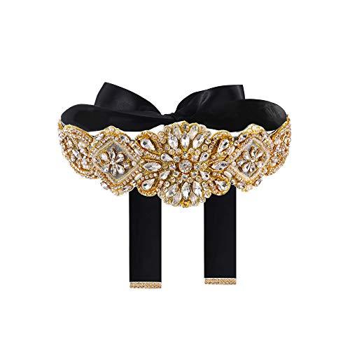 Yanstar Handmade Gold Rhinestone Crystal Wedding Bridal Belt Sash With Black Ribbon Sashes for Evening Party Prom Bridesmaid Dress
