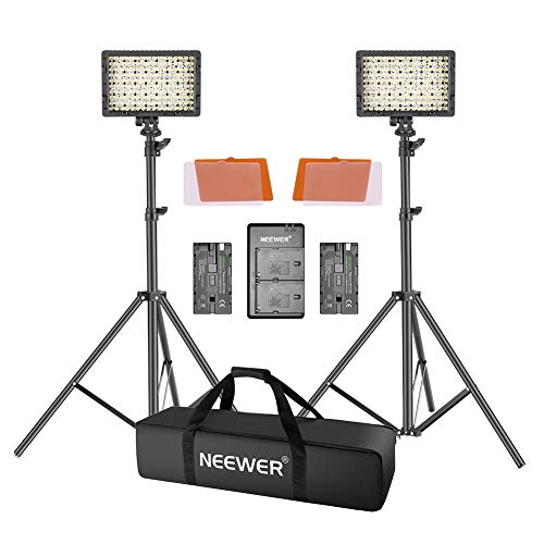 Neewer 2x 160 LED Licht Set Ultra hohe Energie Panel mit einstellbarer Digitalkamera /Video Kamera- Gehäuse für Canon, Nikon, Sony und andere Digitale SLR-Kamera