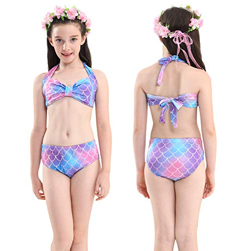 GALLDEALS Mermaid for Swimming Girls Swimsuit Princess Bikini Set Bathing Suit Swimmable Costume (No Monofin) (7-8 Years, A - Multicoloured)