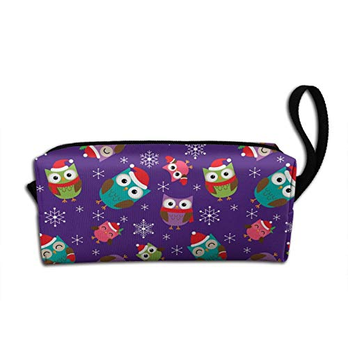 Christmas Child Owl Makeup Bag Zipper Pouch Travel Cosmetic Toiletry Organizer Gift For Women Girls