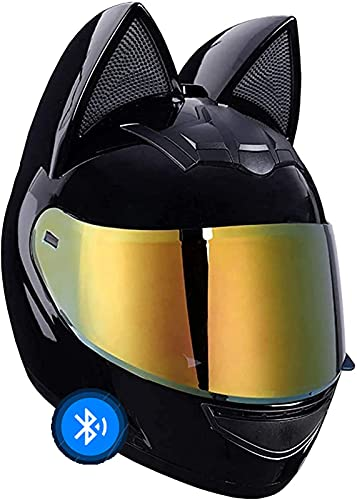 Chica Mujer Casco Bluetooth Casco De Moto Oreja De Gato Con Certificación ECE Cascos Abatibles De Cuatro Estaciones Con Visera Para Street Bike Racing Motocross 1,XL=60-62CM