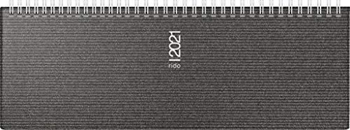 rido/idé 7036133901 Tischkalender/Querterminbuch septant, 2 Seiten = 1 Woche, 305 x 105 mm, Kunststoff-Einband Visicron metallic schwarz, Kalendarium 2021, Wire-O-Bindung, mit Metallecken