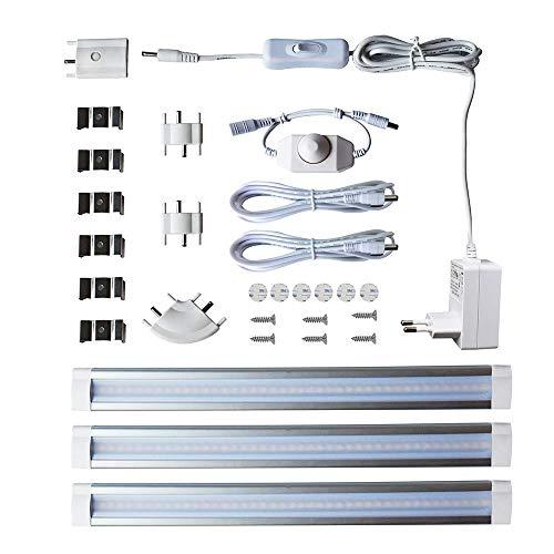 LAMPAOUS Led Schrankbeleuchtung Dimmbar Unterbauleuchten Schranklicht Lichtleiste Küchenleuchten Kabinett Lampen Neutralweiss Vitrineleuchten Küchenlampen 42 SMD 3er-Set 12 Watt 12V DC