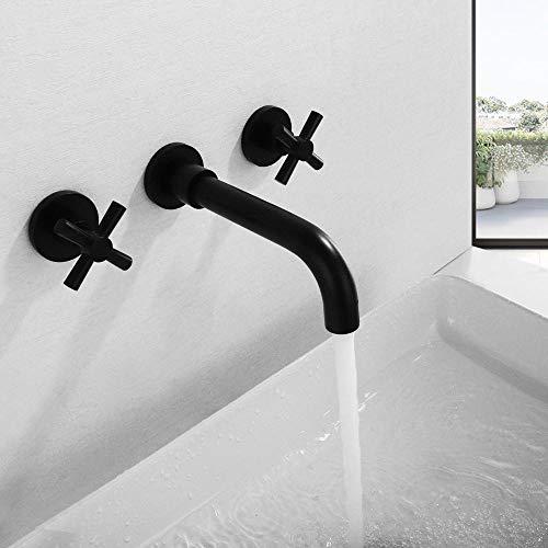 Juego de grifería de baño con grifo de lavabo negro mate de dos manijas moderno montado en la pared,XLUYBPGJWSKHH