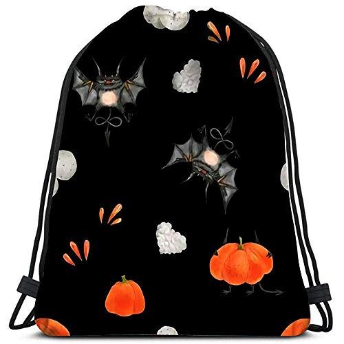 AllenPrint Sportbeutel,Aquarell Für Halloween Die Kleinen Fliegenden Teufel Und Kürbisse Dekorative Travel Cinch Taschen Für Outdoor Travel Sporting