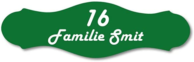 Naamplaatje groen sierlijk t.b.v. brievenbus, 10x3 cm