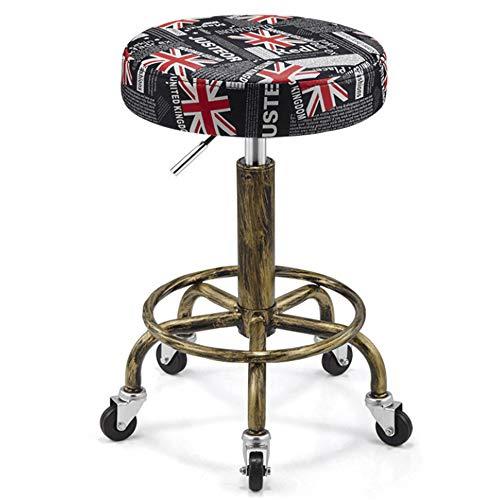 DLMPT Barkruk Draaikruk op wieltjes, in hoogte verstelbare rolkruk, met kunstleer beklede zitting, Werkkruk voor schoonheidssalons, Kantooren 3
