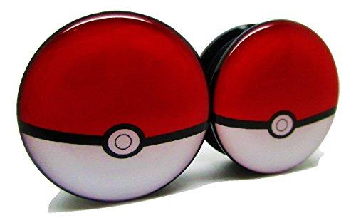 Pokemon Pokeball Ear Plugs - Acrylic Screw-On - 10 Sizes - Brand NewPair (00 Gauge (10mm))
