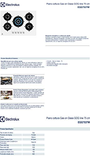 Electrolux Piano cottura Gas on Glass EGG7537W, GOG line 75 cm, White