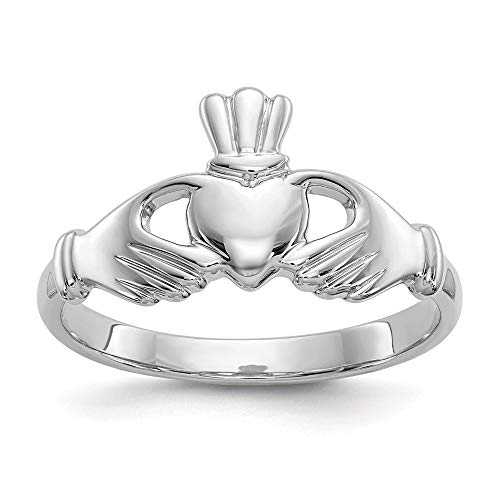 10k White Gold Irish Claddagh Celtic Knot Band Ring Size 6.50 Fine Jewellery For Women Gifts For Her