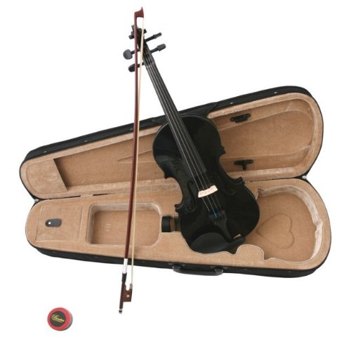 Crescent 1/2 Black Maple Wood Acoustic Violin with Case, Rosin, and Bow