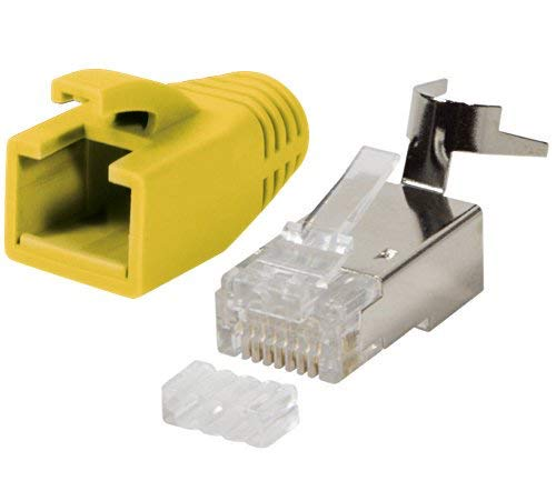 odedo® 10 Unidades Crimp Conector Amarillo Cat 7, Cat 7 a, Cat 6 A para cat5sh – hasta 8 mm 10 Gbit Gigabit Ethernet Starre o Flexible Conductores 1.2 mm de 1.45 mm RJ45 Conector Metal