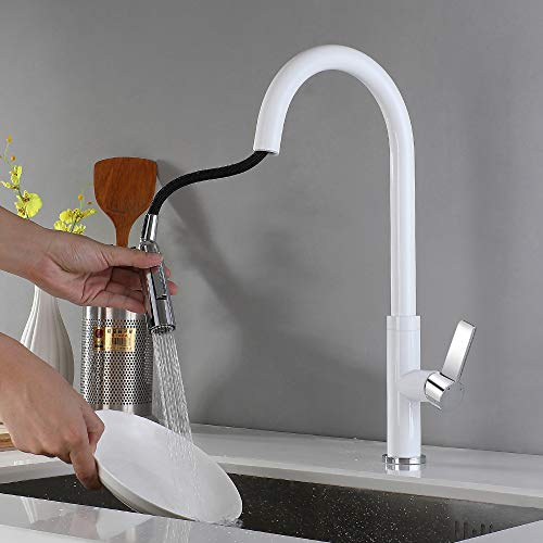 WAZA Grifo de Cocina Extraíble Giratorio Latón Blanco Grifo de Fregadero Grifería de Cocina Diseño Clásico Moderno Agua Fría y Caliente Pull-out/Pull-down Accesorios Completos