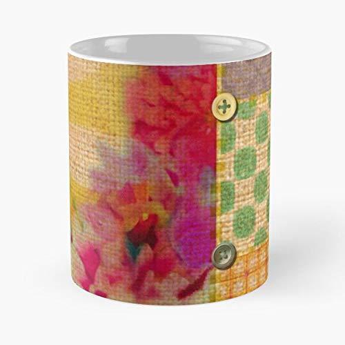 Manipulado amarillo Halloween parches parches parches rosa mejor taza de café de cerámica 11 oz