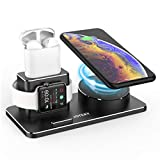 Aluminum Charging Station for iPhone Apple Watch 6/5/4/3/2/1 AirPods pro, Fast Wireless Charger for iPhone 12/11/11Pro/ 11 Pro Max/XS/XR/X/8/8