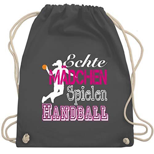 Shirtracer Handball - Echte Mädchen Spielen Handball weiß - Unisize - Dunkelgrau - handball jugend lila - WM110 - Turnbeutel und Stoffbeutel aus Bio-Baumwolle