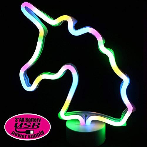 XIYUNTE Unicornio Señales luminosas neón Luz de noche, LED Unicornio luces de neón Lámparas Iluminación infantil Dormitorio Decoración, Batería y USB alimentado Luces de noche con pedestal Lámparas