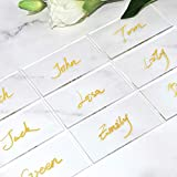 ATOMZING 50PCS Clear Acrylic Place Cards for Weddings,Guest Names Escort Cards,Blank Recta...