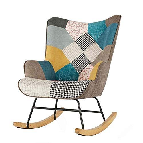 Qazxsw Rocking Chair Comfortable Linen Fabric Recliner Relaxing Chair Relax Lounge Chair with Soft Cushion for Bedroom Living Room Nursery Chair
