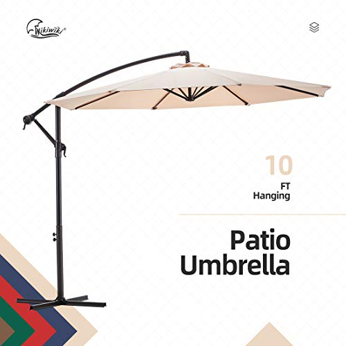 wikiwiki Offset Umbrella 10ft Cantilever Patio Umbrella Hanging Market Umbrella Outdoor Umbrellas with Crank & Cross Base(Beige)